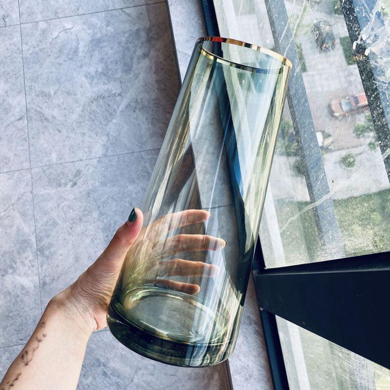 輕奢花瓶擺件客廳插花大透明玻璃水養北歐描金創意簡約網紅花瓶