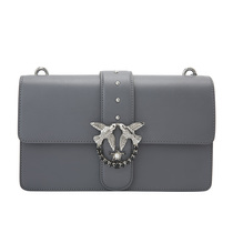 PINKO Rivet Crystal swallow decorative buckle decorated cow leather ladies shoulder bag