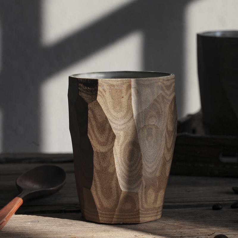 景德鎮刀削馬克杯復古手握陶瓷杯子 日式粗陶咖啡杯個性手工柴燒