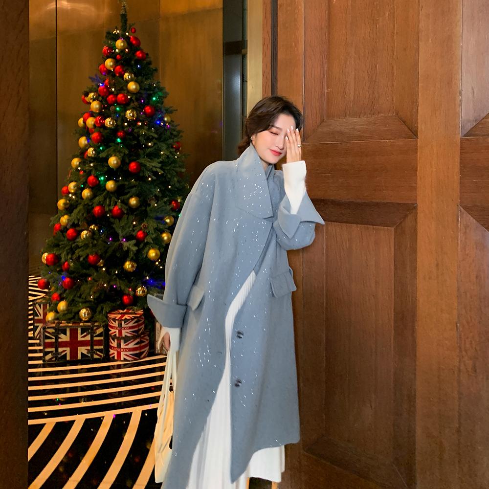 MC 冬季時尚碎鉆雙面呢羊絨大衣女中長款呢子毛呢外套安娜家anna