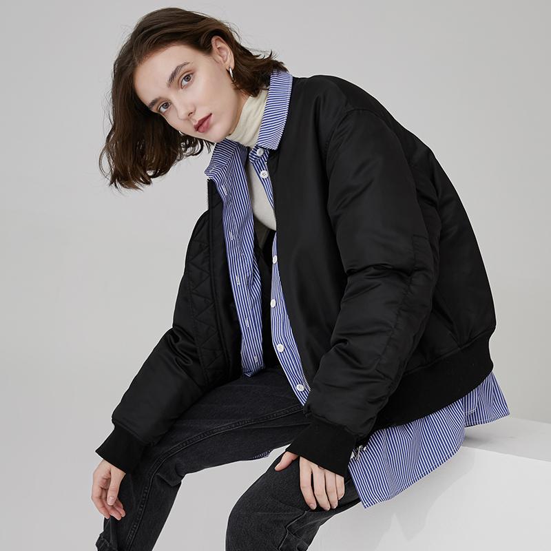 范洛2020冬季新款黑色修身棉服oversize假两件拼接棉衣短款外套