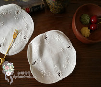 Foreign trade exports of the original single hand embroidery white linen coaster vase pad flower piece