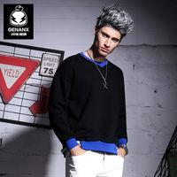 GENANX闪电潮牌 新款男士拼色时尚卫衣个性织带印花长袖套头衫