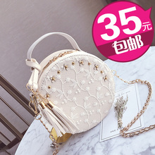 Chain Bag 2019 New Korean Version Mini-lace Flower fringed Bag Hand-held Bill of Lading Shoulder Slant Women's Bag