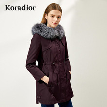 Koradior/Collettier Brand Women's Wear 2018 Winter Wear New Fox Collar Piece Overcoming Thick Coats