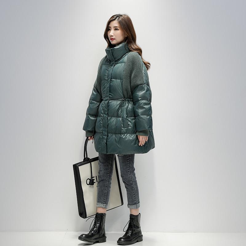 小个子收腰羽绒服女中长款2019冬新款韩版针织拼接时尚白鸭绒外套