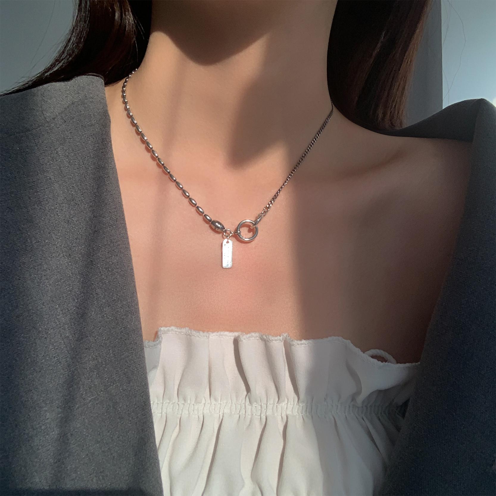 s925银小众项链ins冷淡风颈链女嘻哈设计感轻奢不掉色纯银锁骨链