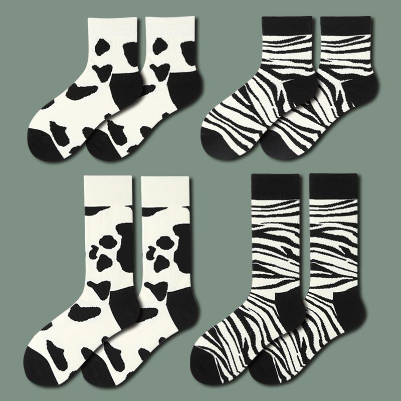 任满5双包邮| 袜子男女奶牛日系中筒袜长短条纹潮袜ins运动短袜棉