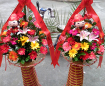 Fuzhou flowers opening flower basket housewarming Celebration fashion Korean Flower Basket business Flower City florist flower delivery