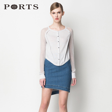 Ports/Baozi Irregular Ornamentation Hollow Long Sleeve Spliced Knitted Shirt LW8K029YZE001