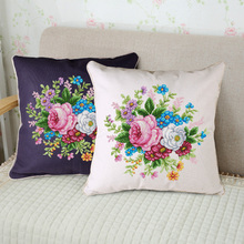 Precision Printing DMC Cross Embroidery Suite Living Room Pillow Cushion Multicolored Embroidered Cloth Brilliant Flower Cluster Roses