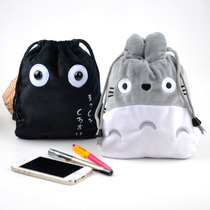 New classic small black Miyazaki Hayao Chinchilla plush bundle pocket debris storage bag drawstring phone purse