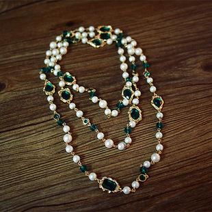 T公馆 SVIP回馈 巴洛克复古宫廷百搭多层珍珠长款毛衣链水晶项链