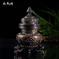 Oster Nepal Handmade chisel copper carving three-legged incense furnace incense stove decoration Buddha Tools