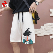Hong Kong Wind ins Red Shorts Men's Loose Chic Sports Hip-hop Five Points Pants Men's Five Points Middle Pants Summer
