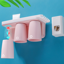 Toothbrush racks wall-mounted brushing Cup set electric wall-mounted toilet mouthwash cup holder free punch couple models