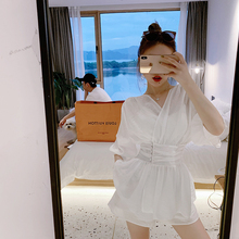 ByYou White Shirt Casual Suit Women Summer Westerly Loin Broad-legged Shorts Two-piece Suit Including Inner Ribbon Brassiere