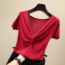 Summer 2019 New Korean V-neck Slim Ice Short-sleeved Knitted Shirt Half-sleeve Tight Bodice