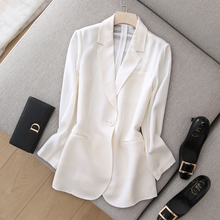 Bright and soft silk triacetic acid thin suit with medium and long weight and texture suit jacket for summer commuting