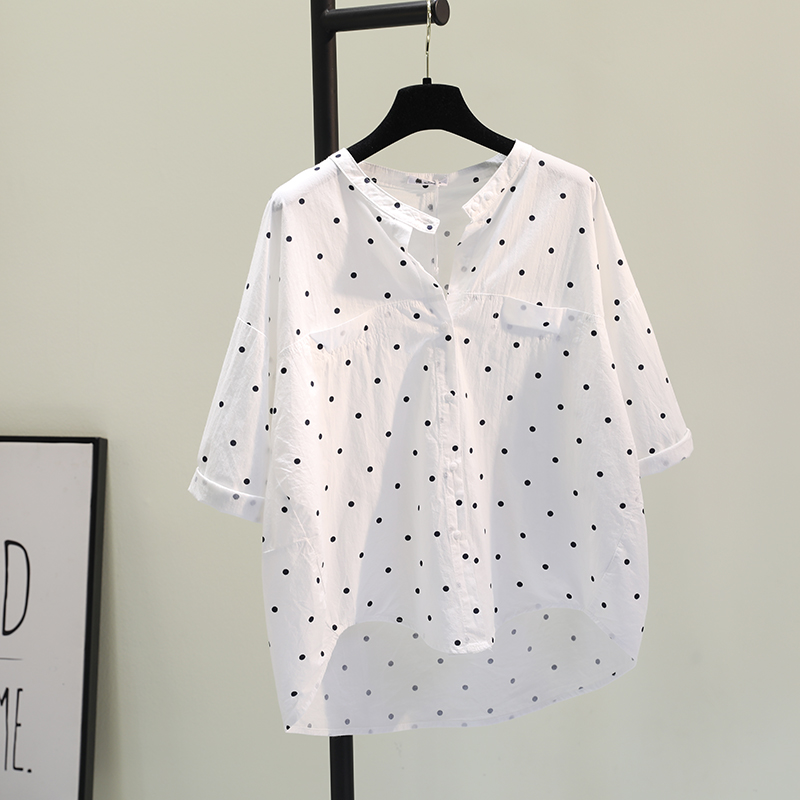 圆点白色衬衫女2021春秋新款韩范文艺小清新衬衣百搭休闲上衣开衫