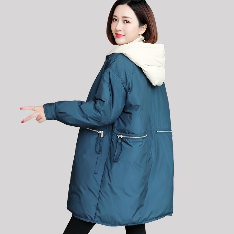 大码棉衣女冬装2019新款胖mm中长款羽绒棉服200斤韩版宽松显瘦
