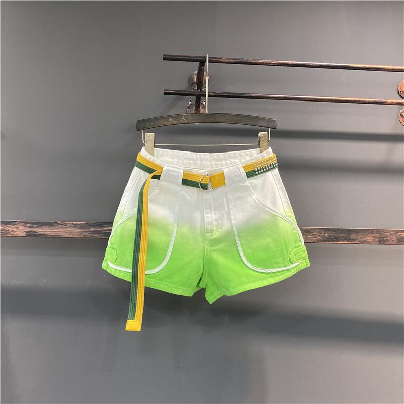 牛仔短裤女潮ins2021夏新款韩版个性渐变色高腰宽松显瘦阔腿热裤