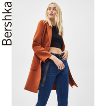 Ms. Bershka's long-sleeved brown overcoat 01440200705