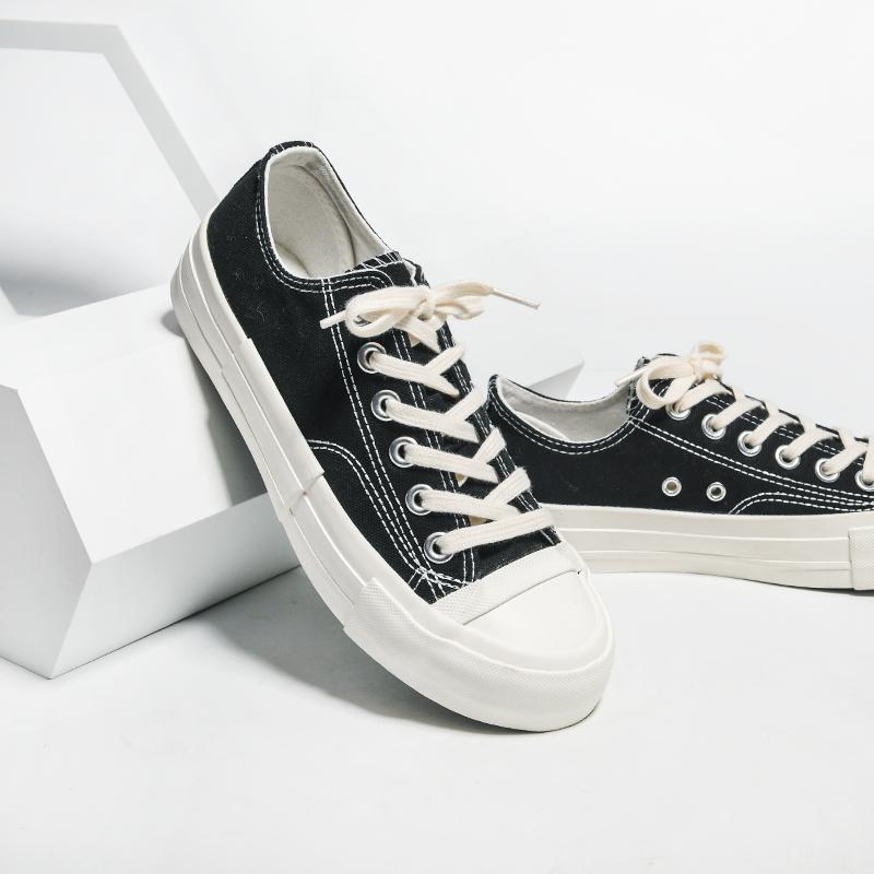 七九一鹿2020新款复古帆布鞋女ins潮港味百搭小白鞋休闲平底板鞋