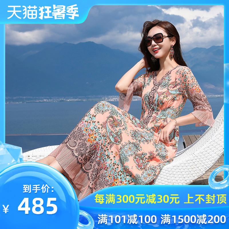 2020夏季新款大牌真丝连衣裙女100%桑蚕丝中长款花色宽松大摆裙子