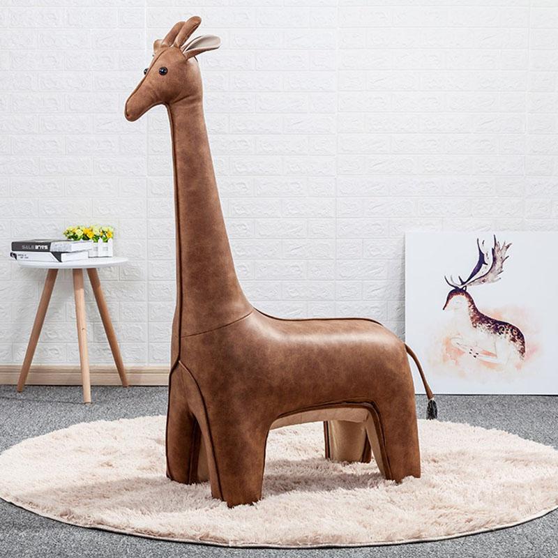 超大裝飾創意擺件長頸鹿格調設計師家具時尚皮質手工坐凳節日禮物
