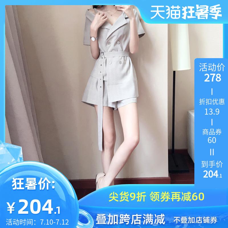 小香風套裝2020夏季新款韓版小個子設計感西裝短褲氣質兩件套洋氣