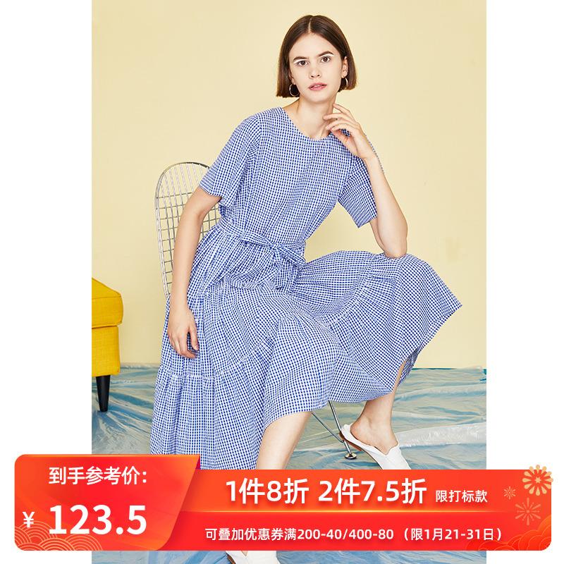 初语2019夏装新款休闲复古蓝色格子蛋糕裙中长连衣裙短袖衬衫裙女