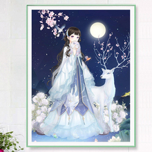 2008 New Diamond Painting with Diamond Embroidered Elk Fairy Sticking Diamond Cross Embroidered Cartoon Princess Living Room Simple Bedroom