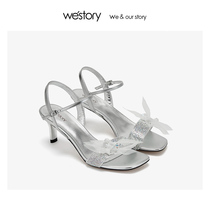 westory Yintai counter 2019 summer new female bow high-heeled crystal sandals W29BG60331