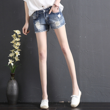 Jeans Shorts Women Summer 2019 New Korean Edition Tide Slim Straight Cylinder with High Waist and Hole Shorts Hot Pants Outside