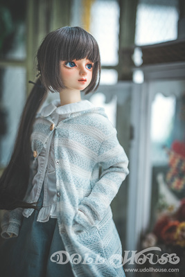 taobao agent [161025]3 points BJD baby clothes thick stripes aqua blue long sweater coat 3 points/4 points Shanghai store