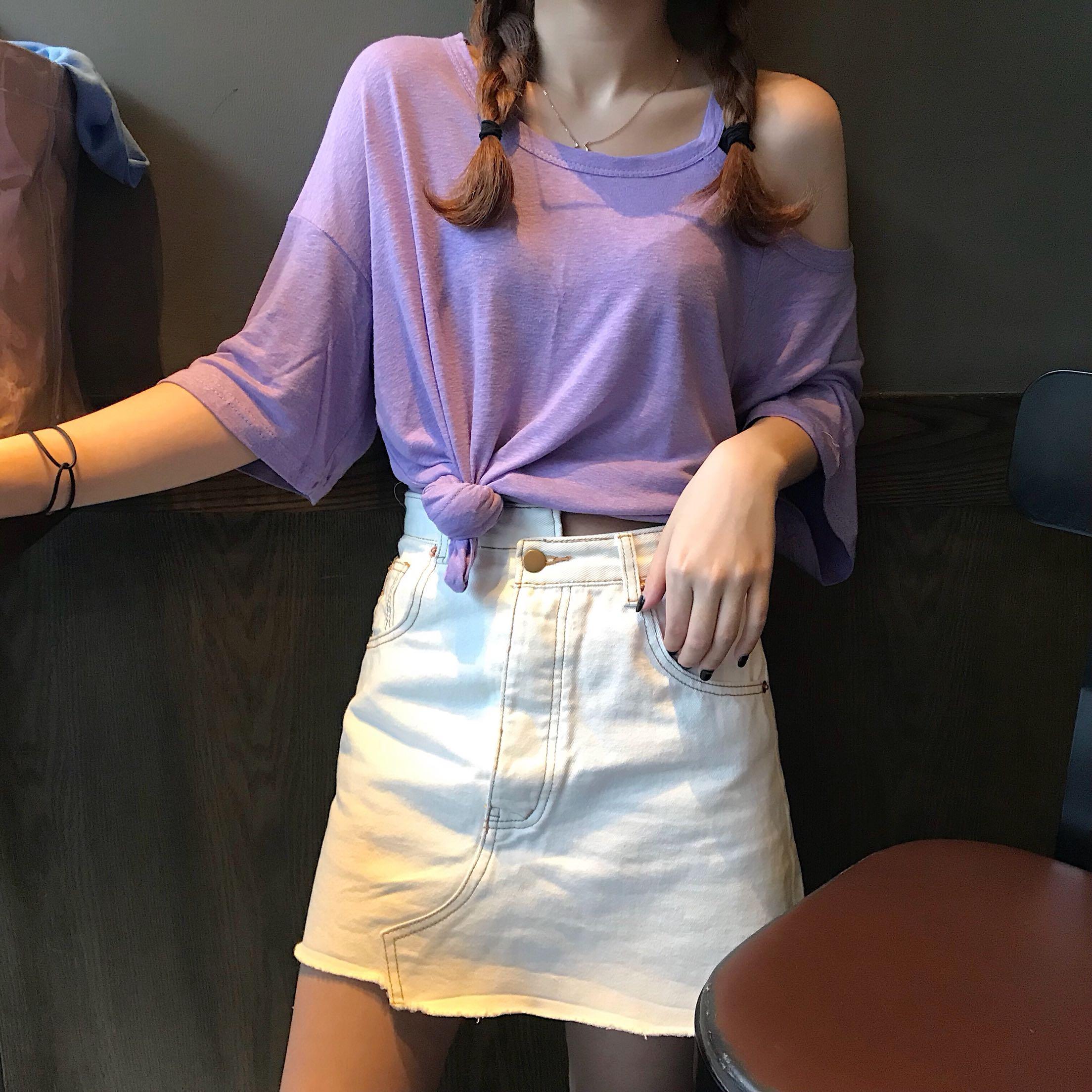 韩国短袖t恤女2020新款夏装韩版半袖宽松显瘦纯棉露肩小心机上衣