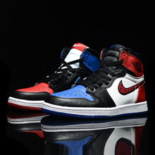 Aj1 Basketball Shoes, High-Up Men's Shoes, Small Lightning, Black Red Toe Mandarin Mandarin Ducks, Cherry Tree Flower Path, No Spider-Man Board Shoes 11