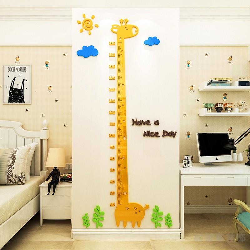 儿童房身高墙贴3d立体宝宝测量身高尺贴纸卡通大树龙猫幼儿园装饰