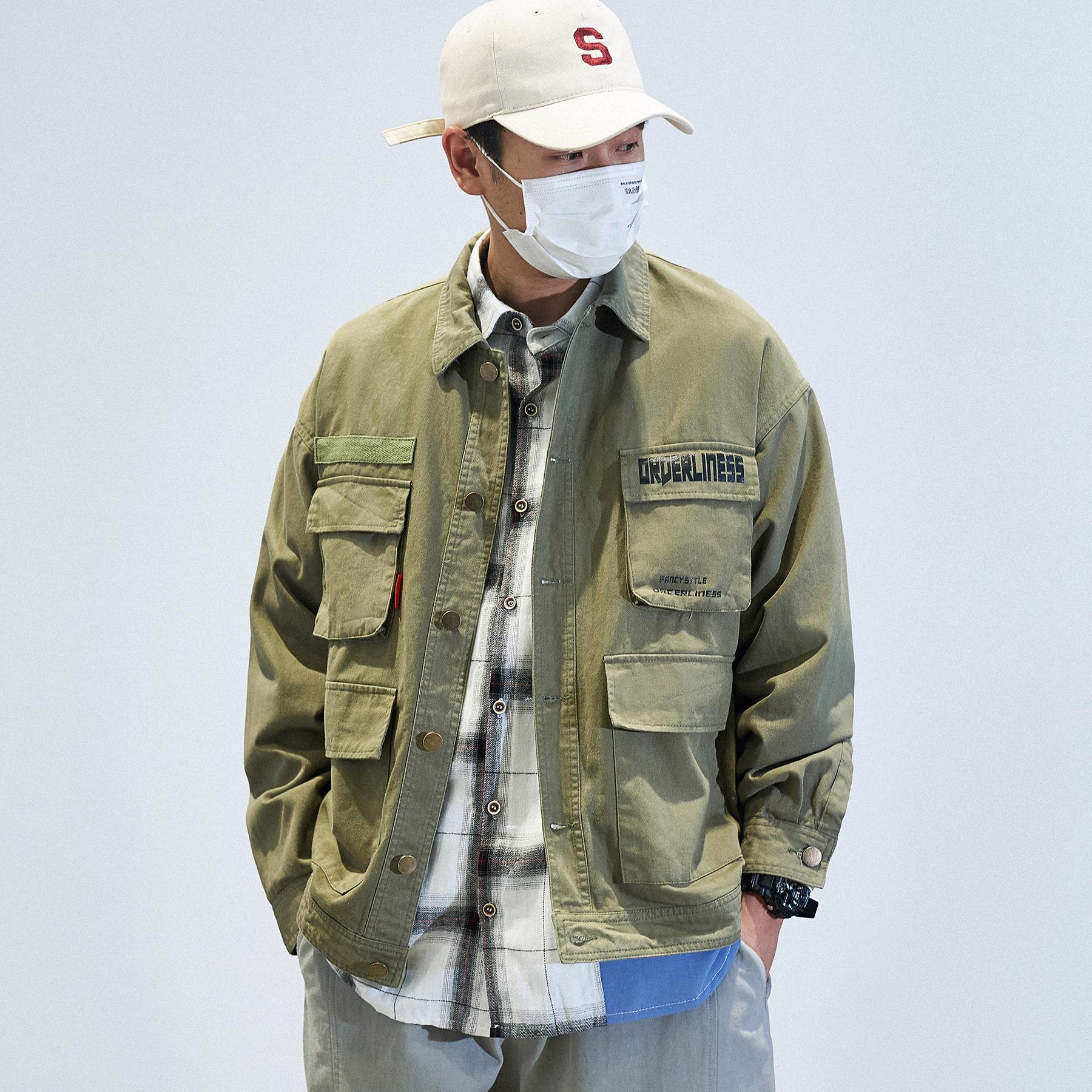 INSIDE19s/s秋冬日系多口袋工装夹克男 复古立领宽松余文乐外套