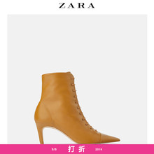 ZARA new women's shoes lace high heel sheepskin leather soft sole high heel boots 11176001145
