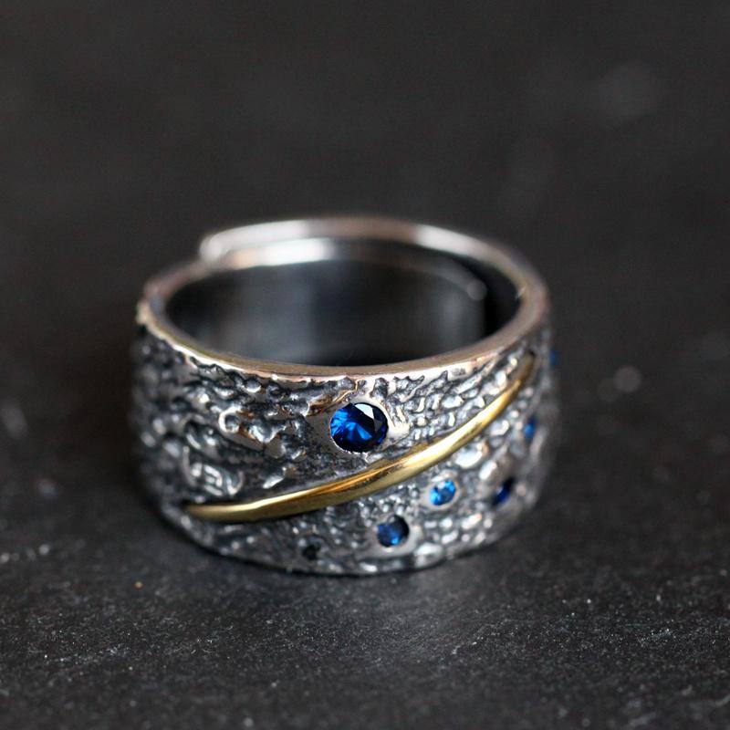 沉醉南方南方纯银饰品女款小众设计Ins可调节网红冷淡风复古戒指