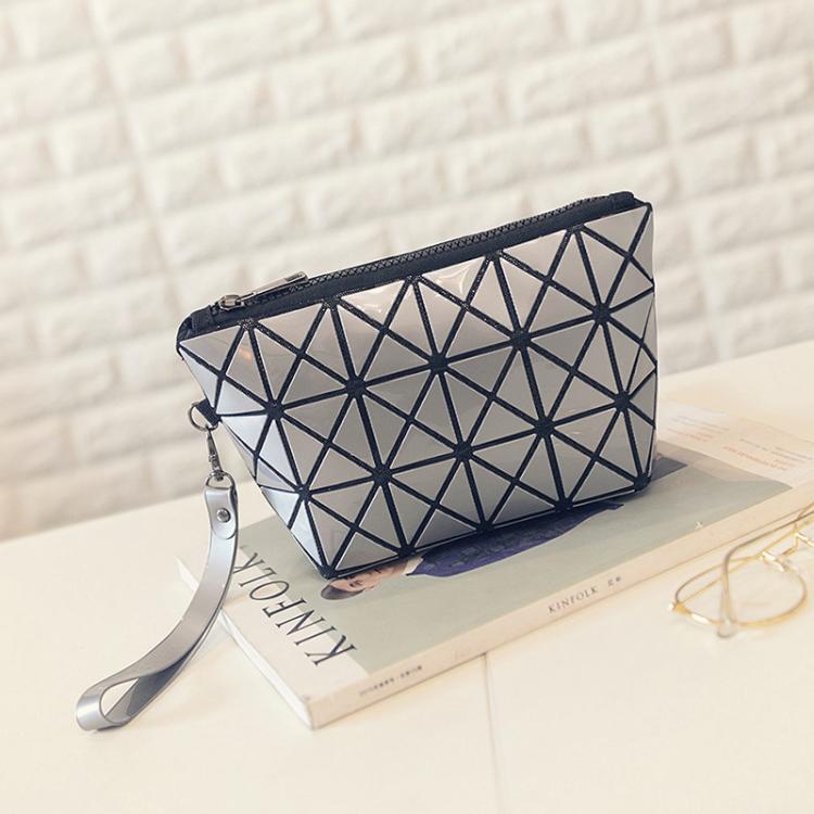 手提包女可折叠百变便携 小号简约少女手提袋 几何菱格大容量化妆