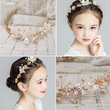 New children's headwear, handmade pearl hair band princess, beautiful crown garland, girl performance, photo and photo accessories.
