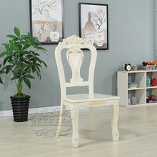 European dining chair Korean pastoral modern simple solid wood cloth Ivory White Hotel dressing desk nail chair