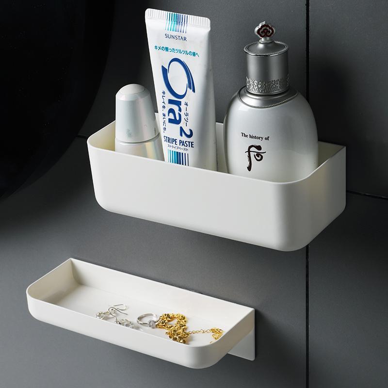 壁挂粘贴式免打孔卫生间置物架家用浴室沥水收纳架洗漱用品收纳盒