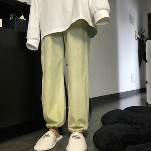 王少女的店2021新款春秋宽松直筒垂坠感阔腿运动休闲束脚灯笼裤子