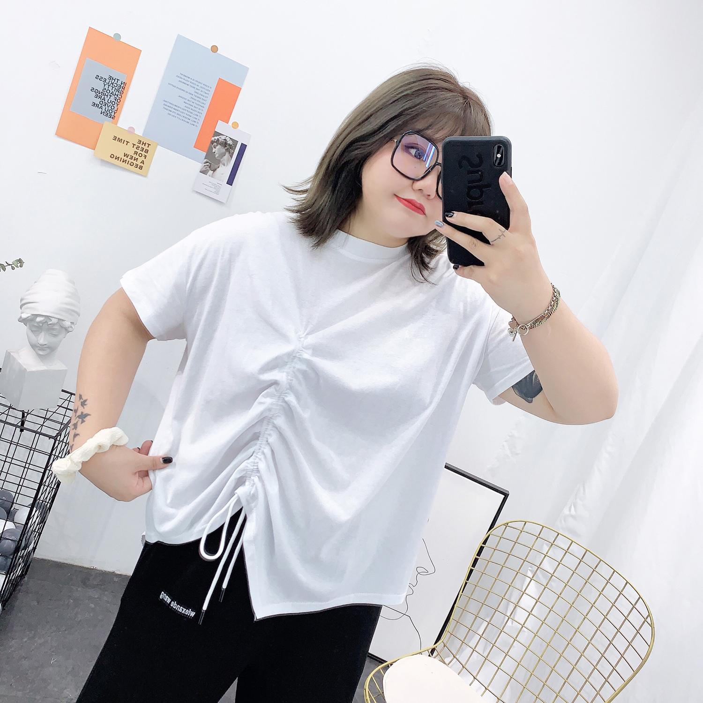 胖mm大码宽松遮肚心机上衣设计感不规则抽绳短袖t恤2020年新款女