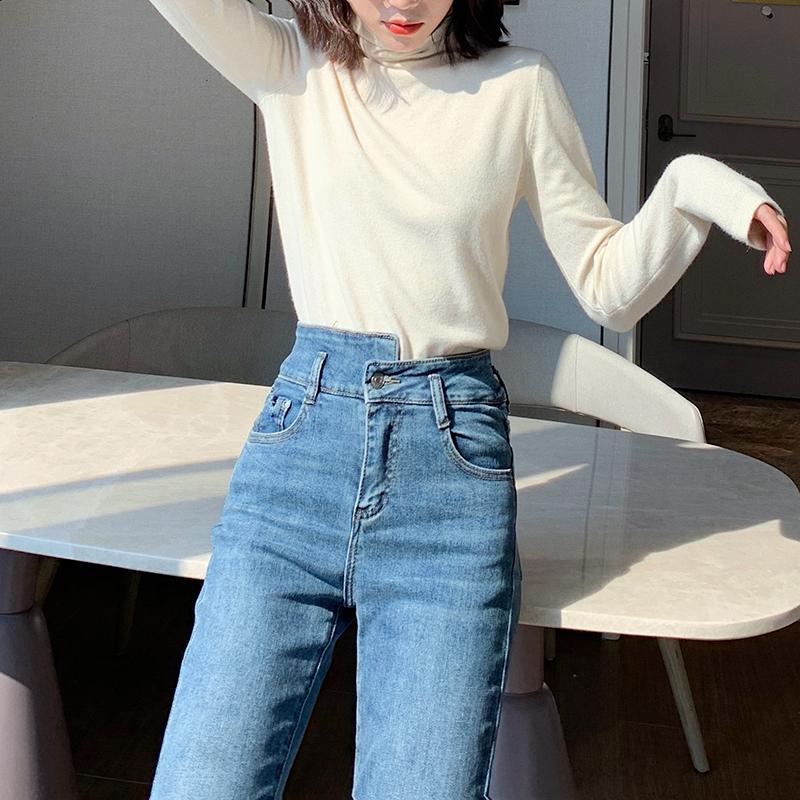 林诗琦 秋冬裤子女2019新款修身显瘦百搭小脚裤流苏高腰牛仔裤女