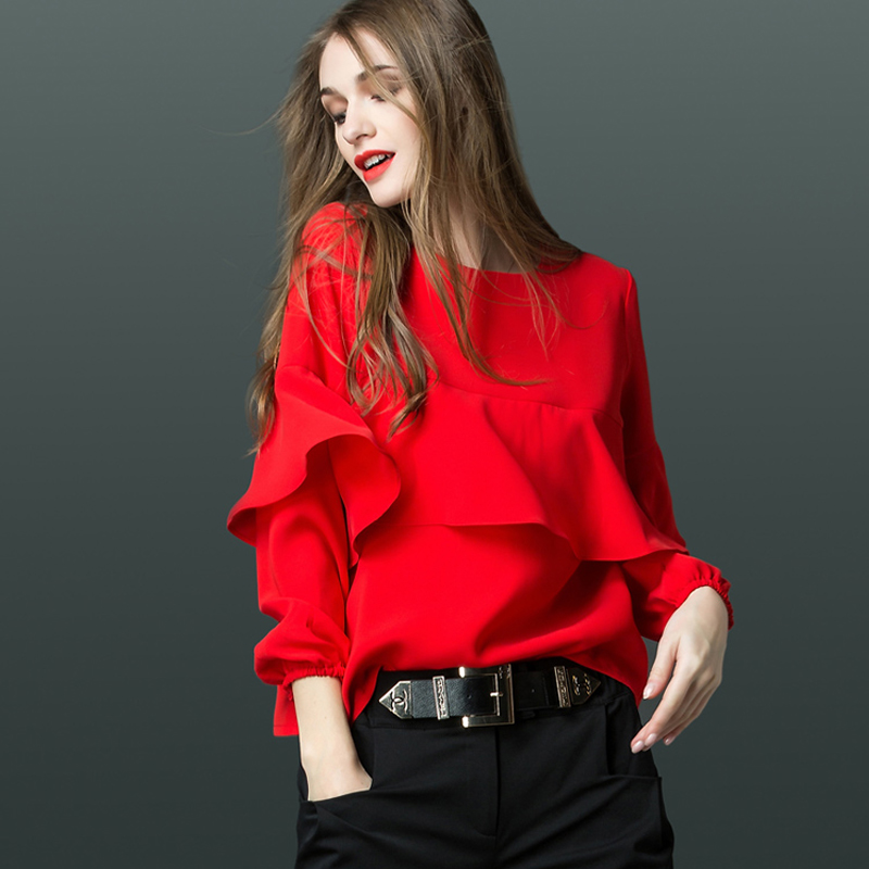 秋冬新款衬衫女设计感小众加绒打底衫加厚上衣内搭雪纺衫保暖衬衣